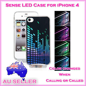 Sense Flash LED Light Up Colorful Case Cover+USB Cable for Apple iPhone 4 4S 4G