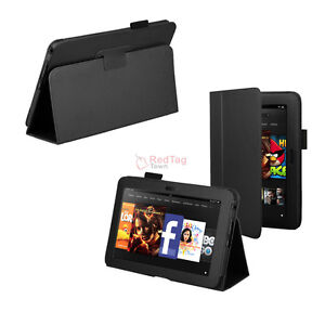 Folio-Stand-PU-Leather-Case-Cover-For-Amazon-Kindle-Fire-HD-7-Tablet-Black-New