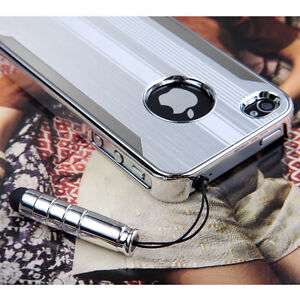 Luxury-Steel-Chrome-Deluxe-Case-Cover-For-iPhone-4-4S-FREE-Screen-Protector-Pen