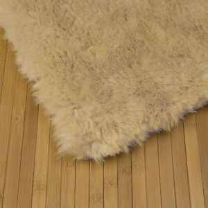 LIGHT-BEIGE-Flokati-Faux-Fur-Rug-soft-plush-5-x-7