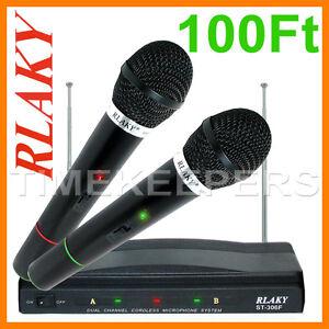 Pro-Dual-Wireless-Cordless-DJ-Karaoke-Public-Address-PA-Mic-Microphone-System