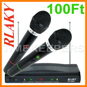 Pro Dual Wireless Cordless DJ Karaoke Public Address PA Mic Microphone System