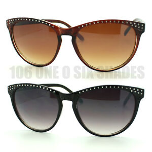 Carved-Stud-Effect-Womens-Cat-Eye-Sunglasses-Black-Brown-New-4-Colors