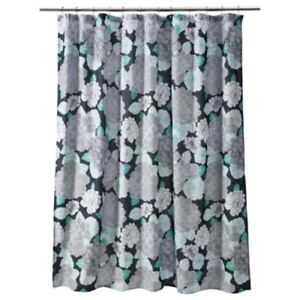 Floral Stripe Turquoise Black Grey White Quality Fabric Shower Curtain New