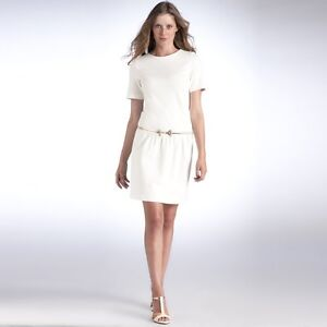 m25*  la redoute WOMANS SHORTSLEEVED WHITE MILANO KNIT DRESS SZ 12 / 14  (EU 40)