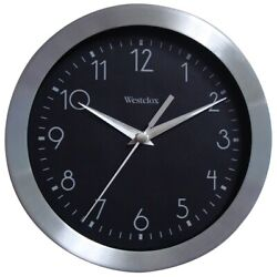 WestClox 9-inch Brushed Metal Wall Clock Silver, Black