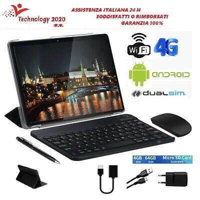 Tablet PC10'1 pollici Android9 4GB RAM64 GB DUALSIM+TASTIERA+MOUSE+CUSTODIA+PEN