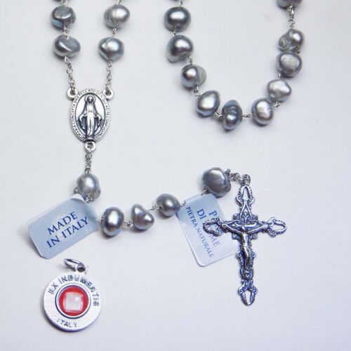 Genuine Grey Cultured Pearl Rosary / Sterling Silver - Bonus St. Anthony Relic M