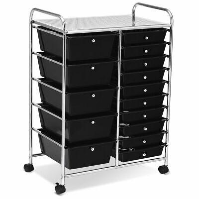 15 Drawer Rolling Organizer Cart Utility Storage Tools Scrapbook Paper Multi-Use