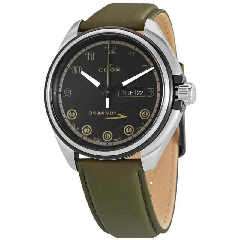 Edox Chronorally S Quartz Black Dial Men Watch 84301 3NCV NNV