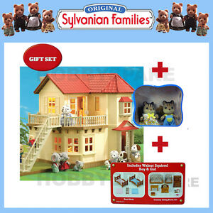 SYLVANIAN FAMILIES BEECHWOOD HALL DOLLHOUSE  + FURNITURE + SQUIRRELS GIFT SET