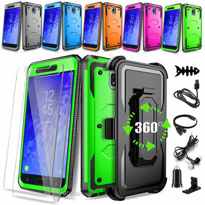 For Samsung Galaxy J3 J7 2018 Case Shockproof Armor Stand Cover+Tempered Glass