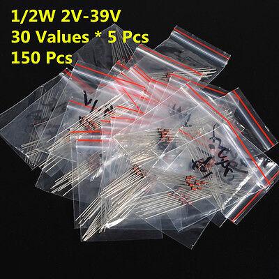 150pcs 30 Values 12w 0.5w 2v-39v Zener Diode Assorted Kit Assortment Set