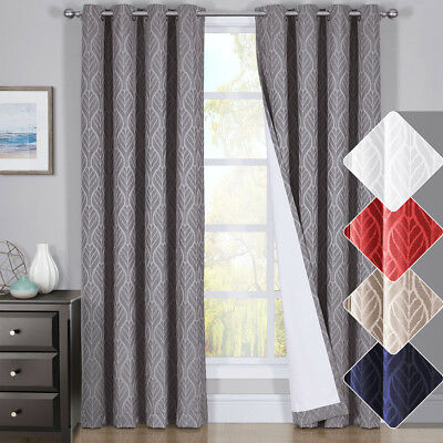 - HILTON Window Treatment Thermal Insulated Grommet Blackout Curtains /Drapes PAIR