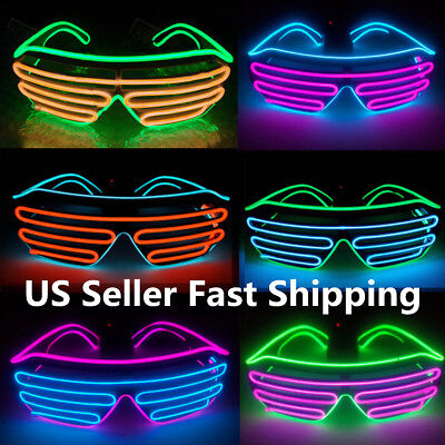 EL Wire LED Glasses Light Up Glow Eyewear Shades Flashing Rave Nightclub Party !