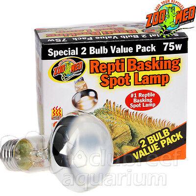 Repti Basking Spot 75 W Watt Reptile Terrarium Light 2 Bulb Value Pack Zoo Med