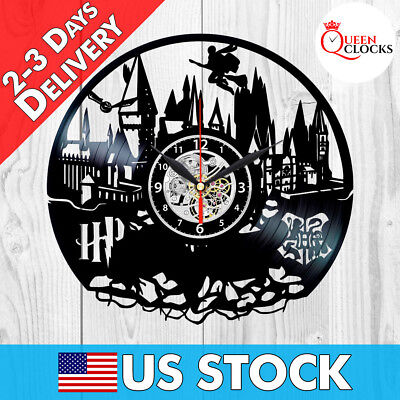 Harry Potter Hogwarts Vinyl Record Wall Clock Best Gifts Kids Home Room