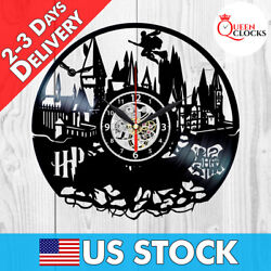 Harry Potter Hogwarts Vinyl Record Wall Clock Best Gifts Kids Home Room Decor
