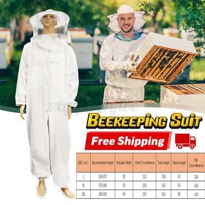 Xxl Professional Cotton Full Body Beekeeping Bee Keeping Suit W Veil Hood White