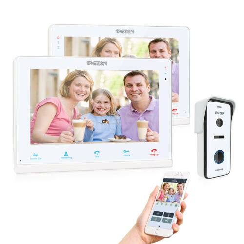"TMEZON Wireless WiFi Video Doorbell Door Phone Intercom System 10"" IP Monitor"