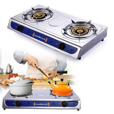 Portable Gas Cookers - Emergency Portable Propane Gas Stove DUAL Double Burner  Gas Cooker CAMPING