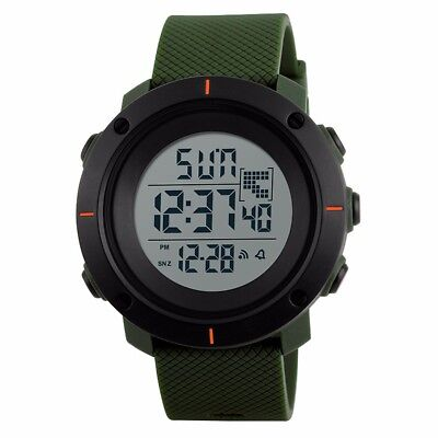 Men's Military Dual Time LED Digital Countdown Timer Sport Quartz Wrist Watch -