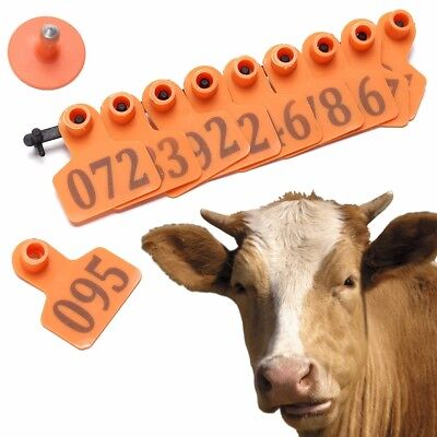 100 Number Ear Tag Animals Cattlegoat Pig Sheep Livestock Tags Labels Orange