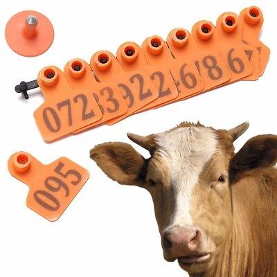 100 Number Ear Tag Animals CattleGoat Pig Sheep Livestock Tags Labels Orange ()