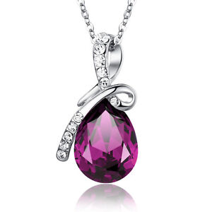Swarovski-Elements-Eternal-Love-Teardrop-Crystal-Pendant-Necklace-Purple