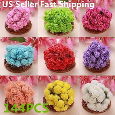 144pcs Colourfast Foam Artificial Rose Flowers Wedding Bride Bouquet Party Decor