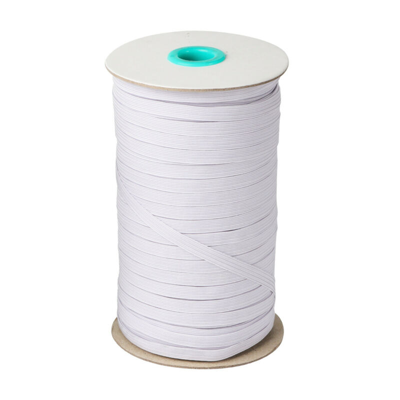 White Elastic Band Cord 1/4 inches width (6mm) 100 Yards Sewing For Face Mask up