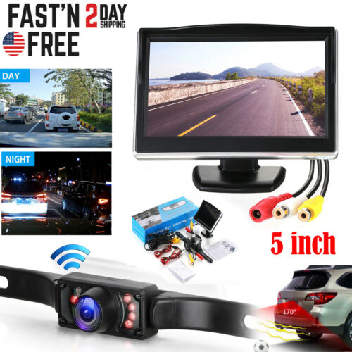 "Wired 5"" Monitor Car Rear View System Backup Reverse Camera Night Vision Kit"