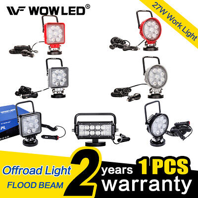 WOW - 27W Magnetic Base LED Work Light Color Offroad Flood Truck Boat Lamp 12V Base Rectangle Magnet