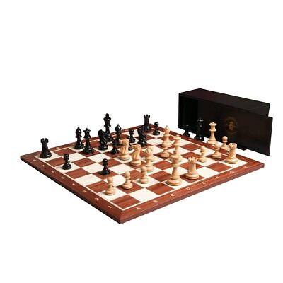 (The Grandmaster Chess set, Box, and Board Combination - Ebonized Boxwood)