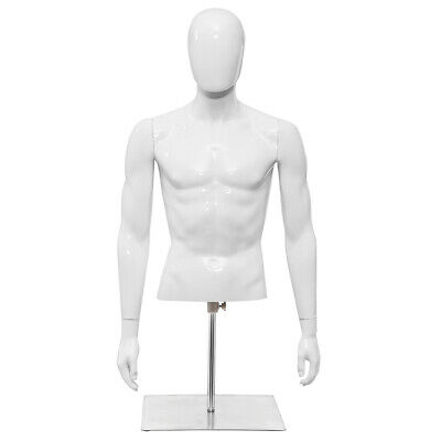 Male Mannequin Realistic Plastic Half Body Head Turn Dress Form Display Wbase