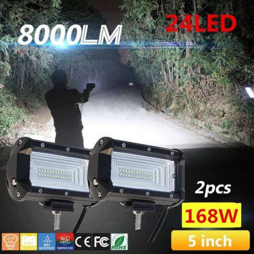 5 inch 168W 24LED Work Light Bar Flood Off Road/Boat/ATV/SUV Fog Driving - NEW