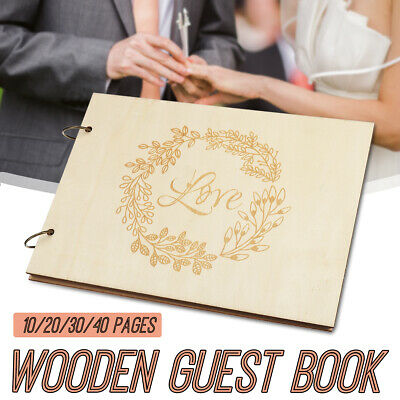 Personalised Wedding Guest Book Wooden Engagement Guestbook Album Party - Wooden Wedding Album