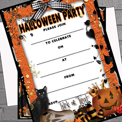20 x Halloween Party Invitations A5 with envs Write your own - pumpkin - cat](Halloween Party Writing)
