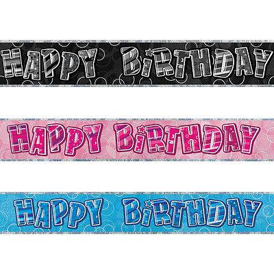 9ft Sparkle Happy Birthday Party Prismatic Foil Banner Decorations