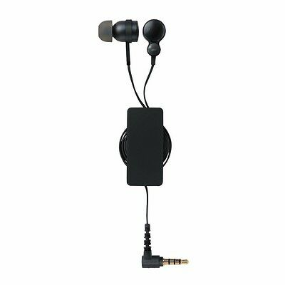 ELECOM EHP-CS3540R In-Ear Headset for Smartphones with Retractable Cable Black