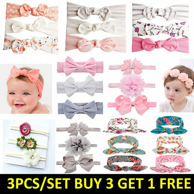 3pcs/Set Baby Kids Girls Bowknot Headband Toddler Elastic Hair Band Headwear Bow