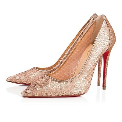 NIB Christian Louboutin Lace 554 100 Nude Gold Glitter Pigalle Heel Pump 41.5