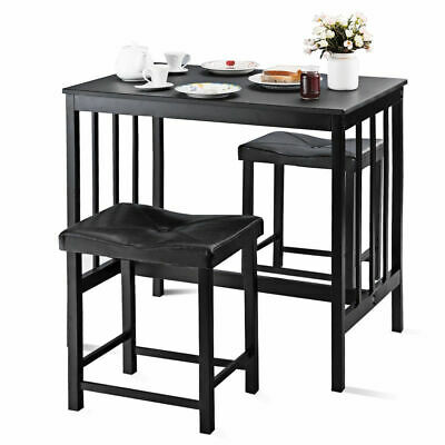 3 PCS Modern Counter Height Dining Set Table And 2 Chairs Kitchen Bar -