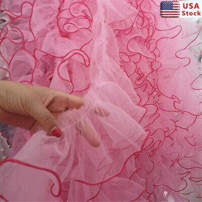2 Yards Lace Trim Organza Pleated Ruffle Fabric DIY Bride Dress Sewing US