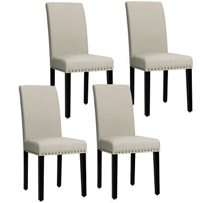 Set of 4 Fabric Dining Chairs Upholstered w/ Nailhead Trim and Wood Legs Beige