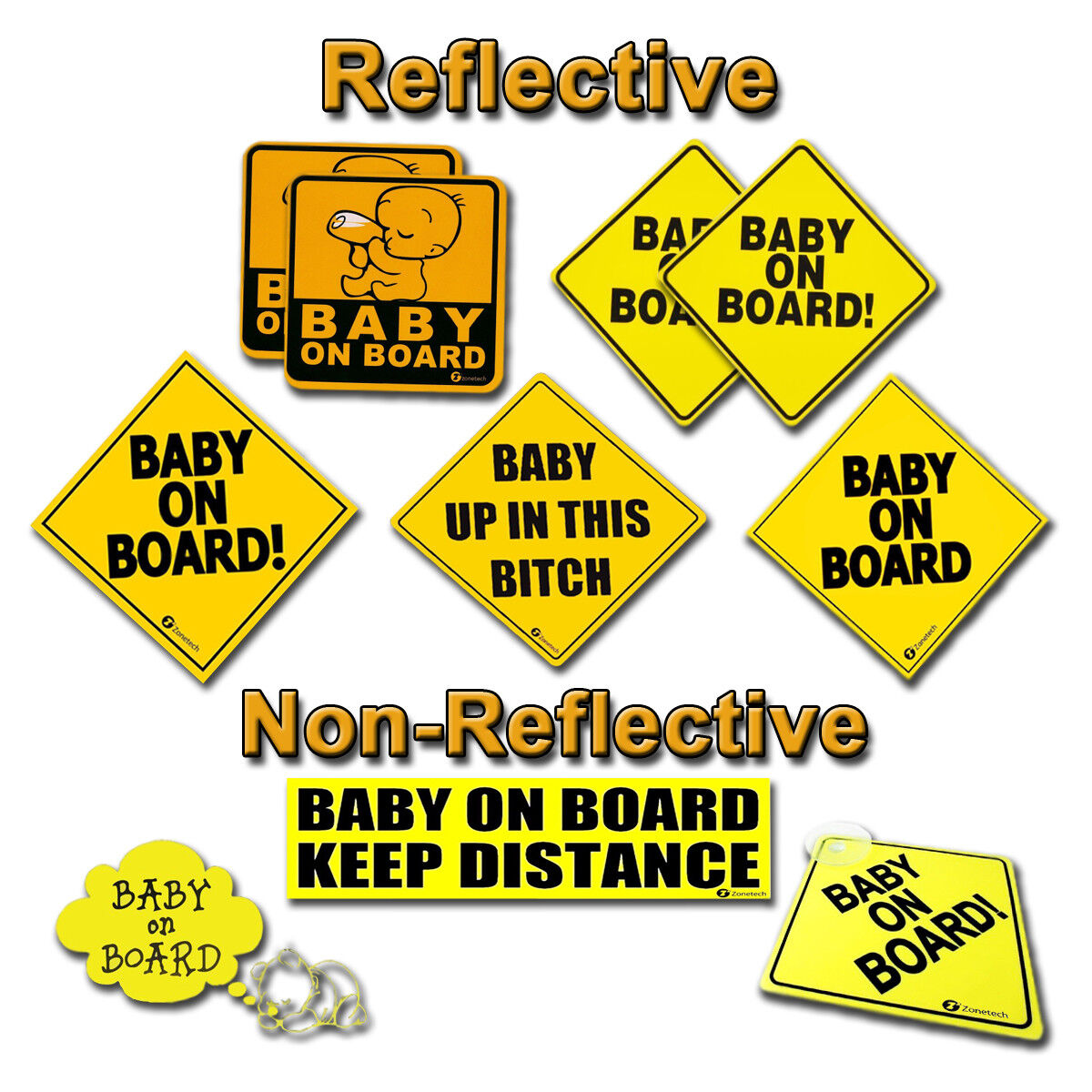 Zone Tech Baby On Board Car Safety Bumper Decal Magnet Reflective Warning Sign