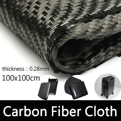 3k Black Carbon Fiber Cloth Fabric Plain Weave 2-2 Twill Weaving 200g 100