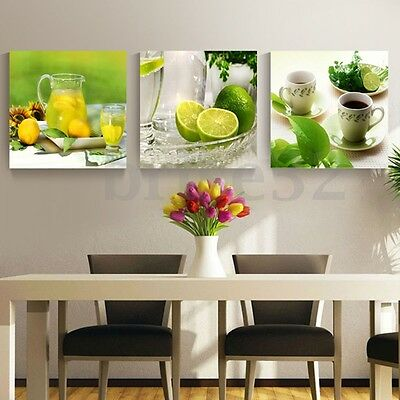 3pcs Modern Lemon Tea Canvas Print Art Painting Wall Picture Home Decor  US