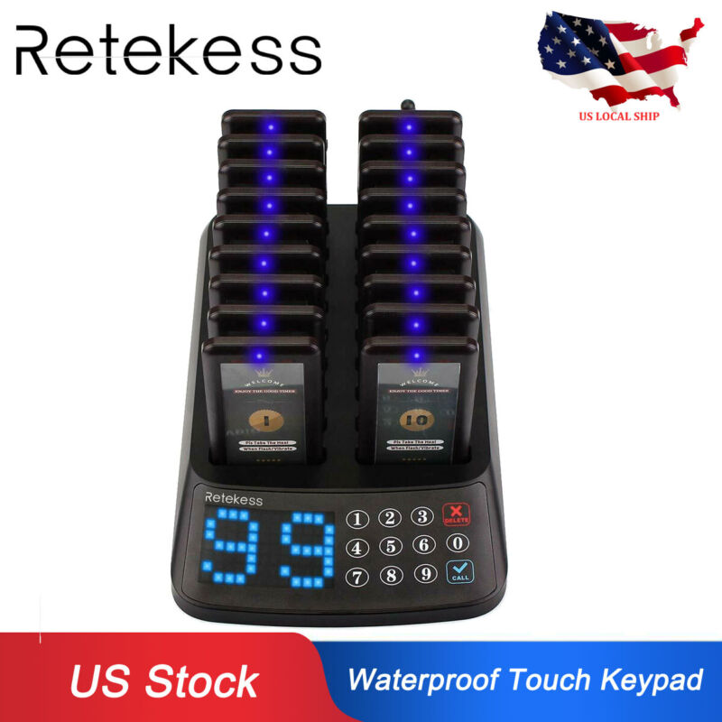 T115 Restaurant Guest Wireless Paging System Waterproof Keypad+18*Coaster Pagers