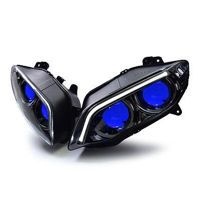 KT For Yamaha R1 LED & HID Projector Headlight Assembly 2004 2005 2006 V2 Blue